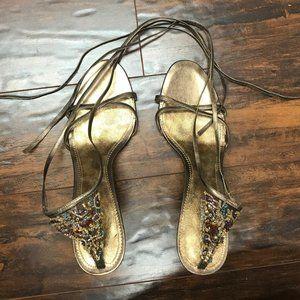 Nine West Lace Up Gold Sandals